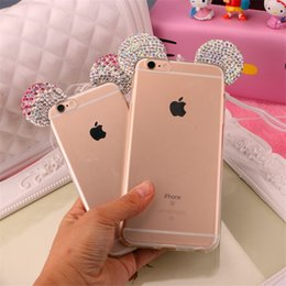 Wholesale Diamond Crystal Mouse - For Apple iPhone 7 7 Plus 6 6s plus 3D Mickey Minnie Mouse Bling Diamond Crystal Ears Soft Silicone TPU Back Cover Phone Case Coque Funda