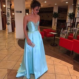 Wholesale High Neckline Cheap Prom Dress - 2017 Cheap High Quality Light Blue Prom Dress A Line Beaded Crystals Sweetheart Neckline Prom Dressess Long Formal Evening Party Gowns