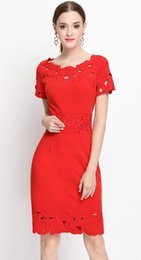 Wholesale red cut out bodycon dress - Embroidery Women Sheath Dress Short Sleeve Cut Out Dresses 11M16298
