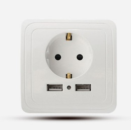 Wholesale Wall Socket Electrical - coswall Wall Power Socket Plug Grounded 16A EU Standard Electrical Outlet With 2.1 A usb