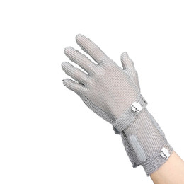8 см длинный раздел стальная плита напульсник перчатки вырезать устойчивые перчатки из нержавеющей стали сетки металлической сетки Мясник анти-резки перчатки безопасности работы G от