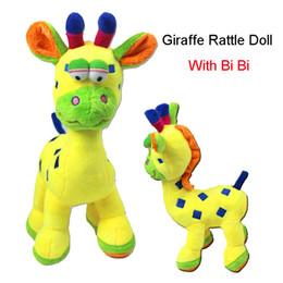 Wholesale Giraffe Crib Bedding - Wholesale- Giraffe Bell Hand Grasp Toys Teether Multifunction Doll Soft Plush Baby Rattle Ring Bell Crib Bed Hanging Animal Toy Kid Gift