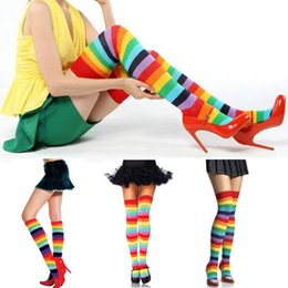 Wholesale Girls Long Stocking - Wholesale- Fine Lady Girl Colorful Polyester Over Knee Thigh High Long Stocking Rainbow