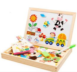 Wholesale Writing Magnetic Boards Children - Wooden Multifunction Children Animal Puzzle Writing Magnetic Drawing Board Kids Blackboard Learning Education Toys
