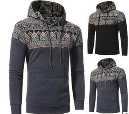 Wholesale Fleece Clothes Outdoor - 2017 retro national wind design outdoor sports sweater Hooded Sweatshirt stitching sports leisure Slim hood sweater coat men clothing