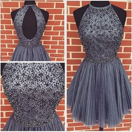 Wholesale Grey Open Back Prom Dress - 2017 Short Grey Prom Dresses Tulle Beaded Real Picture Open Back Beach Homecoming Party Gowns For Girls