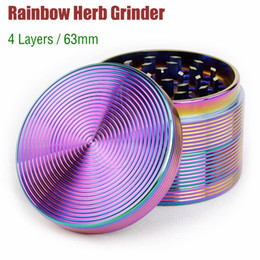 Wholesale Rainbow Magnets - Rainbow Grinders 4 Piece Beautiful 63mm herb Grinder Zinc Alloy Top Quality Tobacco herbal Spice Crusher vaporizer Machine Magnet Strainer
