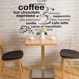 Wholesale Coffee Bathroom - 2017 New Design Simple And Stylish English Coffee Pattern Home Decoration Wall Stickers Living Room Cafe Wall Decals Wallpaper