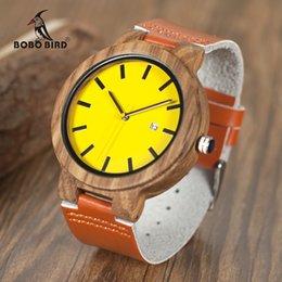 Wholesale Oem Auto - BOBO BIRD O09 Newest Zebra Wood Watches Yellow Orange Leather Band Calendar Quartz Watch for Men Women OEM