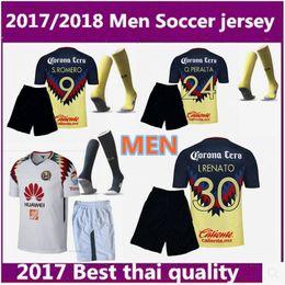 Wholesale Club America White Jersey - men kit 2017 2018 liga mexico club america soccer jerseys 2017 2018 A.TENA O.PERALTA SAMBUEZA home away football shirt