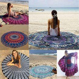 Wholesale Patterned Bath Towels - 150cm Round Beach Blanket Towel Chiffon Beachwear Shawl Mandala Peacock Pattern Tapestry Yoga Mat Over 106 Designs