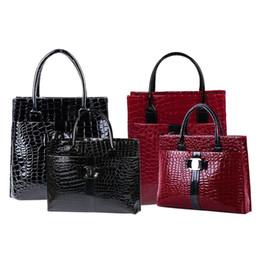 Wholesale Leather Tote Bags Wholesale - Wholesale- Luxury OL Style Lady Handbag Women Crocodile Pattern PU Leather Shoulder Bag HB88