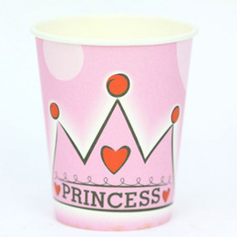 Wholesale Princess Party Themes - Wholesale- 50 pcs lot of princess crown theme printing paper cup tableware for birthday party , party drinking cup