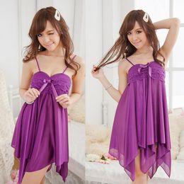 Wholesale G Dots - Women Sexy Dress Set Lace Underwear Babydoll Dress Sleepwear G-String Free Size