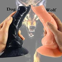 Wholesale Men Women Dildos - Realistic Dog Dildo Large Wolf Dildo Animal Sex Toys for Men Fetish Women Stuffed Dildo G-Spot Masturbation Anal Plug Toy Cheap