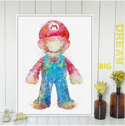 Wholesale Mario Pictures - Original Watercolor Super Mario Japanese Game Poster Print Abstract Picture Kids Room Wall Art Decor Canvas Painting No Frame