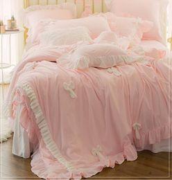 Wholesale Baby Bedding Comforters - Korean princess Baby skin velvet Warm New Handmade bowknot bedspread bedding sets 4pcs, pillowcase, bed skirt Duvet Cover