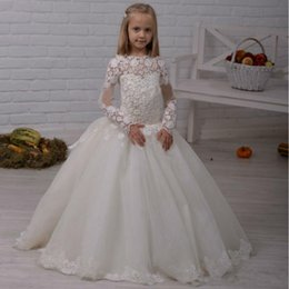Wholesale Fashion Shirt For Kids Girls - 2017 Fashion Lace Long Sleeves Flower Girl Dresses Ball Gowns Appliques Layered Kids Formal Wear Gowns for Weddings Girls Pageant Dresses