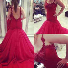 Wholesale Dres Fashion Red - Red Long Gowns Mermaid Evening Dress 2017 New Sexy Backless Elegant Appliques Lace Court Train Formal Prom Party Gowns Special Occasion Dres