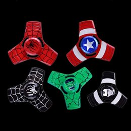 Wholesale America Gift - super hero Captain America Iron Man Hand Spinner alloy Spinner Fidget Toy EDC Autism ADHD Finger Gyro Toy Kids Gifts OTH470