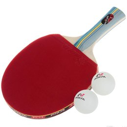 Wholesale White Pong Balls - 2017 NINJA N1002 Sports 1 Star Table Tennis long handle pingpong bat Paddles racket with 2 white Ping-Pong Balls Bottom Price