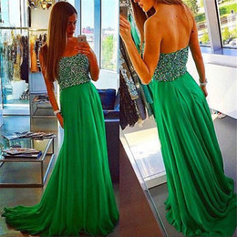 Wholesale Short White Dreses - Sparkly Beaded Strapless Prom Dress Emerald Green Chiffon Long Evening Dreses 2017 Vestido De Festa Longo