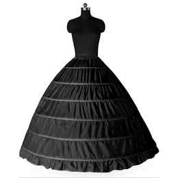 Wholesale formal dresses large sizes - Ball Gown Large Petticoats 2017 New Black White 6 hoops Bride Underskirt Formal Dress Crinoline Plus Size Wedding Accessories