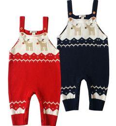 Wholesale Kids Overalls Pants - Newborn Kids Knitting Deer Pants Toddler Crochet Cartoon Overalls Babies Autumn Clothes Kids Christmas Clothes