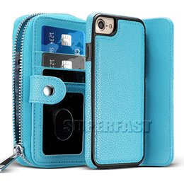 Wholesale Iphone Leather Purse - For iPhone 7 Detachable Wallet Case For iPhone 6 2 in 1 PU Leather Purse For Galaxy S7 Shockproof Card Slot Case with OPP Package