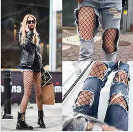 Wholesale Wholesale Large Women Tights - Sexy Mesh Fishnet Pantyhose stockings 2017 New Spring Summer Black Slim Fishnet Tights Stockings Party Club Hosiery Large medium small Grid