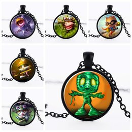 Wholesale League Legends Necklace - League of Legends hero panda Teemo Glass time gem necklace Cabochon necklaces Silver Bronze Chain jewelry women girl Christmas gift 161465