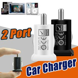 Wholesale Usb Itouch - USAMS USB Dual Car Charger 3.1A 3100mha 5V Dual 2 Port Car Chargers Power Adapter for iPad iPhone X 8 7 Plus 6S iPod iTouch Samsung LG Sony