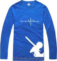Wholesale Free Shirts Online - Free shipping new arrival Japanese anime Sword Art Online Printed long-sleeve t-shirt anime Tee 100% cotton 6 color