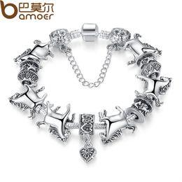 Wholesale Animal Jewellery Beads - Wholesale- European Tibetan Silver Animal Charm Bracelet Women with Charmilia Glass Beads Fashion Jewellery PA1272