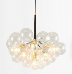 Wholesale clear glass ball pendant lights - Modern Bubble Glass Pendant Lights Fixture Home Deco Glass Ball Pendant Lamp DIY E27 Suspension Clear Glass Hanging Lamp