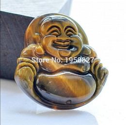 Wholesale Lucky Eye Pendant - High Quality Natural Yellow Tiger-eye Stone Buddha Pendant Carved Lucky Amulet Pendant Necklace For Women Men Jade Jewelry