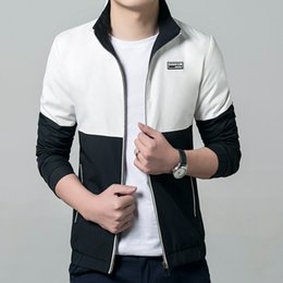 Wholesale Draped Hoodie - Wholesale- 2017 Men Jacket white black patchwork Spring Autumn Windbreaker Fashion male hoodie Casual mens jackets and coats 4XL 5XL