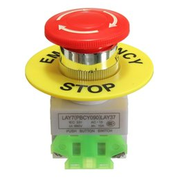 Wholesale Emergency Mushroom Push Button Switch - Red Mushroom Cap 1NO 1NC DPST Emergency Stop Push Button Switch AC 660V 10A