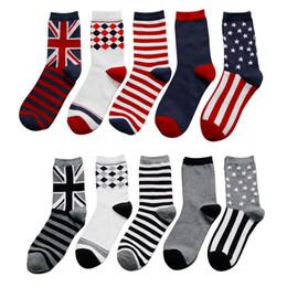 Wholesale British Flag Sale - New 8 COLOR Cotton British Stripe Flag Socks Men Funny Happy Socks Men's Leisure Summer Socks Multi-color High Quality Hot Sale