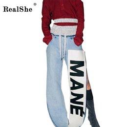 Wholesale Lady Jeans Print - Wholesale- RealShe Women Slit Jeans femme Fashion Female 2017 Ladies Blue Denim Pants Casual Words Print Ties Brand Fashion Pants