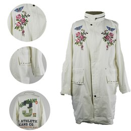 Wholesale Trench Coat Jeans Fashion - New arrival Embroidery Loose Women's long trench classic Trench Coats army green coat Flower embroidery MC JEANS