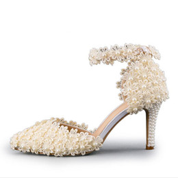 Wholesale Yellow Kitten Heels Wedding - Ankle Strap Summer Sandals Handmade Lace Flower Women Middle Heels Bridal Wedding Shoes Adult Ceremony Pumps Purple Yellow