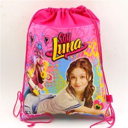 Wholesale Wholesale Recycled Fabric - Wholesale-Kids Favors Soy Luna Gifts Bag Cartoon Non-Woven Fabric Drawstring Bags Baby Shower Happy Birthday Party Decoration Supplies 1pc