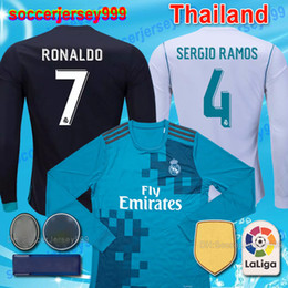 Wholesale Real Football Jerseys - Top thailand 2017 2018 Real Madrid Soccer Jerseys Adult long sleeve 17 18 maillot de Football Shirts RONALDO home white Camiseta uniforms