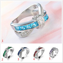 Wholesale Wholesale Jewelry Austrian Stones - NEW 925 sterling silver fashion Elegant purple blue red Austrian Crystal Zircon stone Beautiful ring jewelry