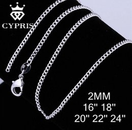 """Wholesale Stainless Steel Curb Necklace - Wholesale- mother's day C015 16""""18""""20""""22""""24"""" 2mm Silver Plated Cuban Curb Chain Silver bulk Wholesale accessory Jewelry Findings WHOLESALE"""