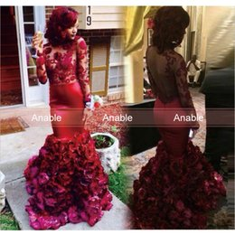 Wholesale Decorating Organza - 2016 Burgundy Mermaid Prom Dress Floral Decorated Skirt Long Sleeves Hollow Back Long Formal Evening Gowns Custom Made
