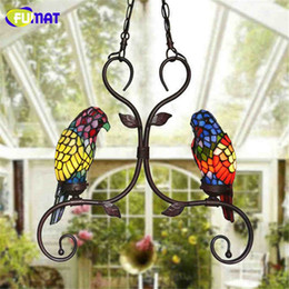 Wholesale Parrot Glass - FUMAT Tiffany Pendant Lights Indoor Garden Corridor Pendant Lamp Creative Art Stained Glass Parrot Suspension Lamp Caffee Bar Lamp
