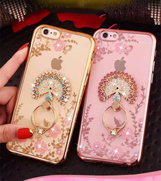 Wholesale lg crystal phone - Luxury Bling Diamond Ring Holder Phone Case Crystal Flexible Soft TPU Cover With Kickstand For iPhone X 8 7 6S Plus Samsung S7 egde S8 Plus