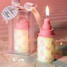 Wholesale Candles Wax Wedding Favors - Lot 4*4*8 Baby Bottle Candle Favors baby shower wedding favors party gifts centerpieces giveaway accessories Free Shipping 150pcs